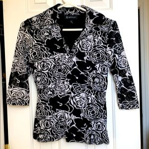 Rose design B&W Top with lace overlay.